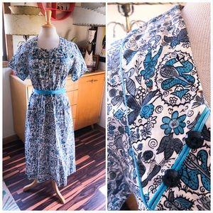 Vintage 1940s Dress Novelty Print Rockabilly 40s